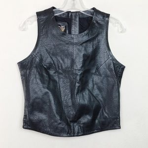 Harley Davidson Black Leather Sleeveless Top